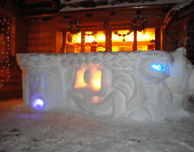 Snow sculpture demonstration